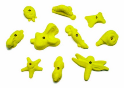 Groperz Critterz Hand Holds for Climbing Wall - Set of 10 Yellow from Everlast Climbing ECI-HHCRITTERZSET