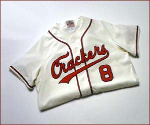 1957 Atlanta Crackers Home Throwback Baseball Jersey With #8 (Cream with Red / (Dark) Navy 5X-Large)