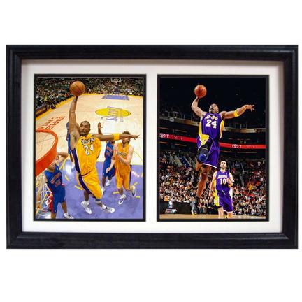 """Kobe Bryant Deluxe Framed Dual 8"""" x 10"""" Photographs"""
