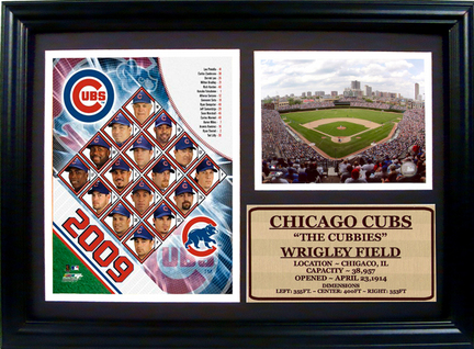 """2009 Chicago Cubs Team Photograph with Statistics Nested on a 12"""" x 15"""" Plaque"""