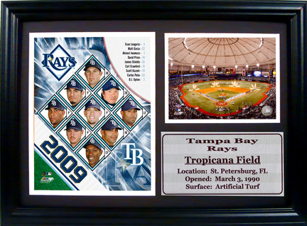 """2009 Tampa Bay Rays Team Photograph with Statistics Nested on a 12"""" x 15"""" Plaque"""