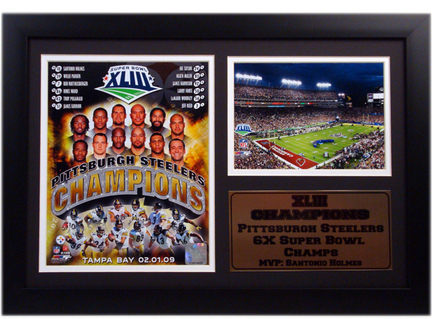"Pittsburgh Steelers Super Bowl Championship Photograph with Statistics Nested on a 12"""" x 15"""" Plaque"" ENC-181-KT11108-1"