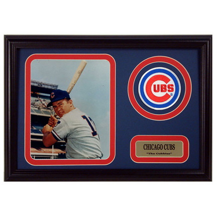 "Ron Santo Photograph with Team Logo Patch in a 12"" x 18"" Deluxe Frame"