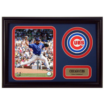 "Carlos Zambrano Photograph with Team Logo Patch in a 12"" x 18"" Deluxe Frame"
