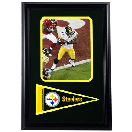 """Pittsburgh Steelers Championship James Harrison Photograph with Team Pennant in a 12"""" x 18"""" Deluxe Frame"""