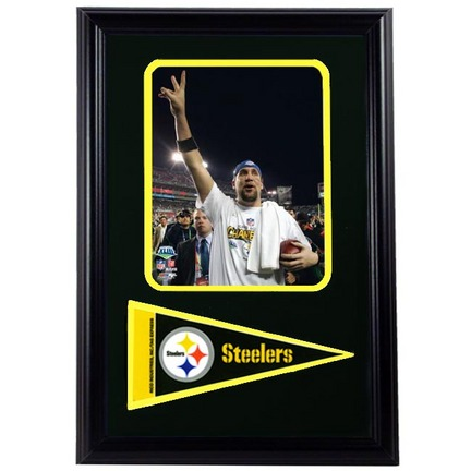 "Pittsburgh Steelers Championship Ben Roethlisberger Photograph with Team Pennant in a 12"""" x 18"""" Deluxe Frame"" ENC-188-AAKW020"