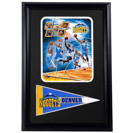 "2009 Denver Nuggets Photograph with Team Pennant in a 12"" x 18"" Deluxe Frame"