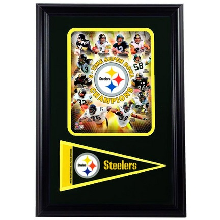 """Pittsburgh Steelers """"6x Champions"""" Team Photograph with Team Pennant in a 12"""" x 18"""" Deluxe Frame"""