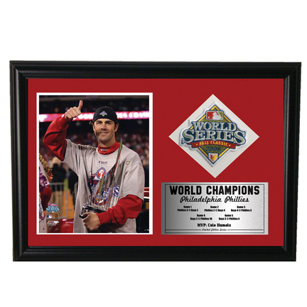Philadelphia Phillies Cole Hammels World Series Photograph with Commemorative Path in Deluxe Frame