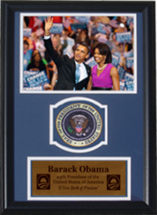 """Barack and Michelle Obama Photograph with Presidential Commemorative Patch in a 12"""" x 18"""" Deluxe Frame"""