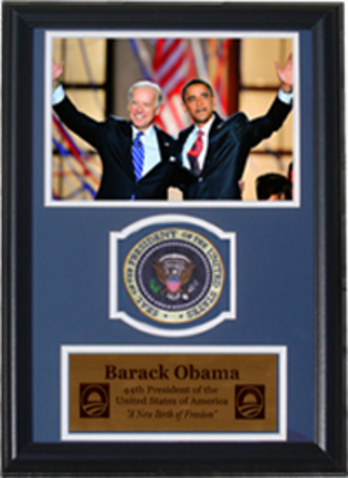 """Barack Obama and Joe Biden with Presidential Commemorative Patch in a 12"""" x 18"""" Deluxe Frame"""