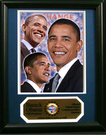 """Barack Obama Photograph with Commemorative Quarter in an 11"""" x 14"""" Deluxe Frame"""