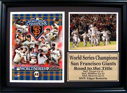 "San Francisco Giants 2010 World Series Champions Celebration Statistics Framed 12"" x 18"" Photographs"