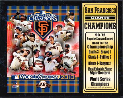 "San Francisco Giants 2010 World Series Champions Statistics 12"" x 15"" Plaque"