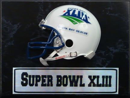 "Super Bowl XLIII Helmet Photograph Nested on a 9"" x 12"" Plaque"