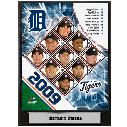 """Detroit Tigers 2009 Team Photograph Nested on a 9"""" x 12"""" Plaque"""