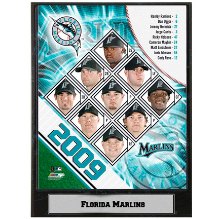 """2009 Florida Marlins Team Photograph Nested on a 9"""" x 12"""" Plaque"""