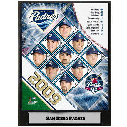 "San Diego Padres 2009 Team Photograph Nested on a 9"" x 12"" Plaque"