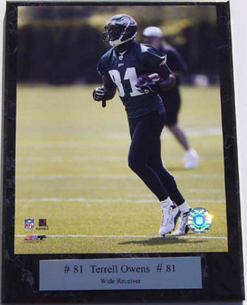 "Terrell Owens Photograph Nested on a 9"" x 12"" Plaque"
