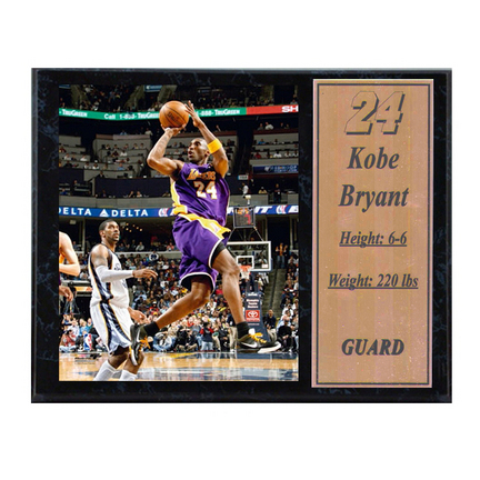 "Kobe Bryant 2009 Photograph with Statistics Nested on a 12"" x 15"" Plaque"