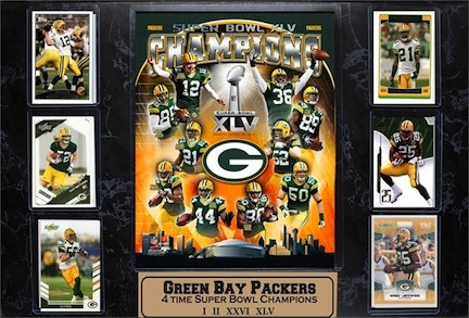 "Green Bay Packers Super Bowl XLV Champions Six Card 13"""" x 20"""" Plaque"" ENC-535-FBGBXLVCHAMPS"
