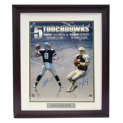 "Tony Romo and Troy Aikman Autographed 16"" x 20"" Photograph in a Deluxe Frame"