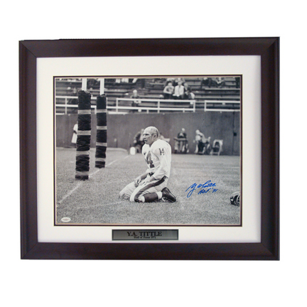 """Y.A. Tittle Autographed 16"""" x 20"""" Photograph and Engraved Name in a Deluxe Frame"""