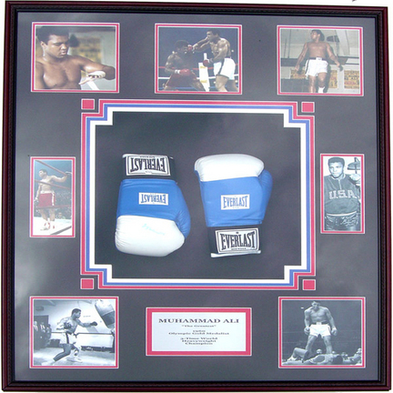 Muhammad Ali Photo Collage and Autographed Boxing Gloves Shadow Box