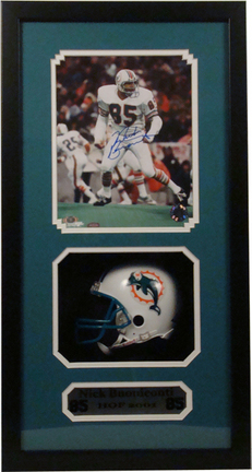 "Nick Buoniconti Mini Helmet and Autographed 8"""" x 10"""" Photograph in Deluxe Framed Shadow Box"" ENC-AUTO-SB-BOUNICONTI"