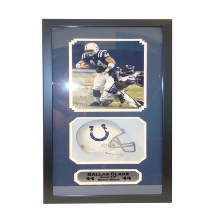 """Dallas Clark Mini Helmet and Autographed 8"""" x 10"""" Photograph in Deluxe Framed Shadow Box"""