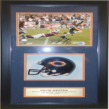 "Devin Hester Mini Helmet and Autographed 8"" x 10"" Photograph in Deluxe Framed Shadow Box"