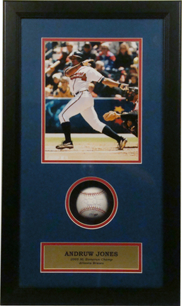 """Andruw Jones 8"""" x 10"""" Photograph and Autographed Baseball in Deluxe Framed Shadow Box"""