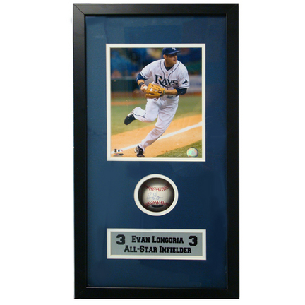 "Evan Longoria 8"""" x 10"""" Photograph and Autographed Baseball in Deluxe Framed Shadow Box"" ENC-AUTO-SB-LONGORIA"