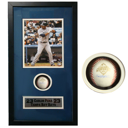 """Carlos Pena """"At Bat"""" 8"""" x 10"""" Photograph and Autographed Baseball in Deluxe Framed Shadow Box"""