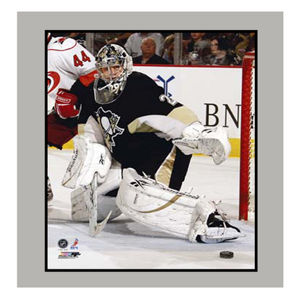"""Marc Andre Fleury """"Black Jersey"""" 11"""" x 14"""" Matted Photograph (Unframed)"""