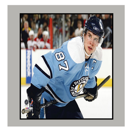 """Sidney Crosby """"Blue Jersey"""" 11"""" x 14"""" Matted Photograph (Unframed)"""