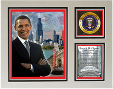 """Barack Obama Matted 11"""" x 14"""" """"In Chicago"""" Photograph with Statistics (Unframed)"""