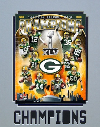 """Green Bay Packers Super Bowl XLV Champions 11"""" x 14"""" Matted Photograph (Unframed)"""
