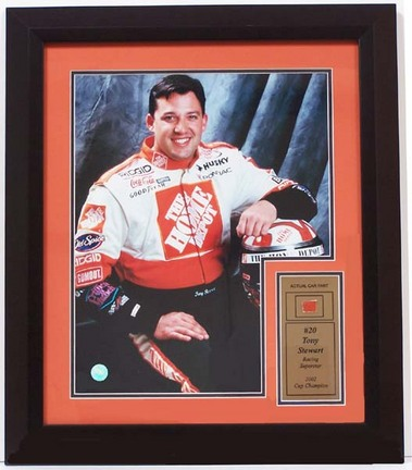 """Tony Stewart 11"""" x 14"""" Photograph with Piece of Used Race Car in a Deluxe Frame"""