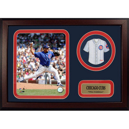 """Carlos Zambrano Photograph with Team Jersey Patch in a 12"""" x 18"""" Deluxe Frame"""
