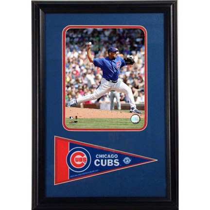 "Carlos Zambrano Photograph with Team Pennant in a 12"" x 18"" Deluxe Frame"