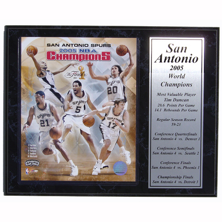 "San Antonio Spurs 2005 World Champion Limited Edition Photograph with Statistics Nested on a 12"" x 15"" Plaque"
