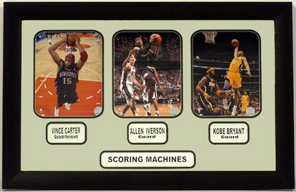 """NBA Scoring Machines Including Three 8"""" x 10"""" Photographs in a 20.5"""" x 31.5"""" Deluxe Photograph Frame"""