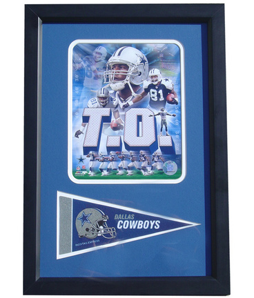 "Dallas Cowboys Terrell Owens Photograph with Team Pennant in a 12"" x 18"" Deluxe Frame"