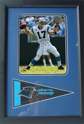 """Jake Delhomme """"White Jersey"""" Photograph with Team Pennant in a 12"""" x 18"""" Deluxe Frame"""
