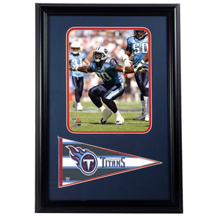 "Jevon Kearse Tennessee Titans Photograph with Team Pennant in a 12"" x 18"" Deluxe Frame"