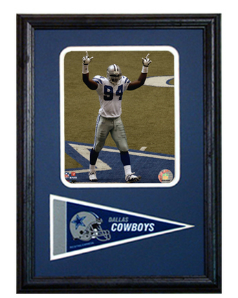 """Dallas Cowboys D'Marcus Ware Photograph with Team Pennant in a 12"""" x 18"""" Deluxe Frame"""