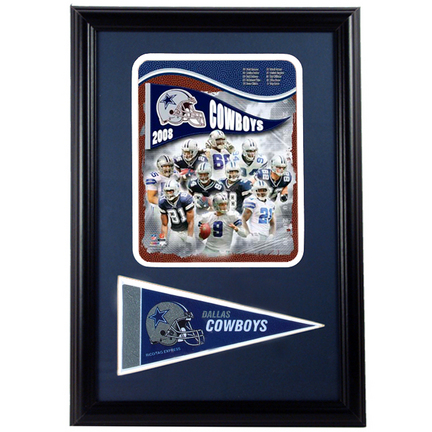 "2008 Dallas Cowboys Photograph with Team Pennant in a 12"" x 18"" Deluxe Frame"