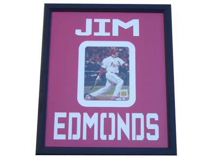 "Jim Edmonds Autographed 22"" x 26"" Photograph in a Deluxe Frame"