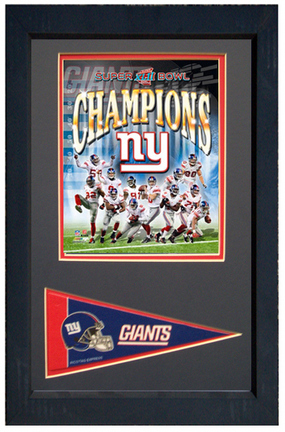 """New York Giants """"World Champions"""" Photograph with Team Pennant in a 11"""" x 14"""" Deluxe Frame"""